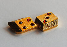 VINTAGE CAST GOLD METAL DICE CARDS POKER GAMBLING • 22x12mm • RED RHINESTONES