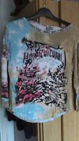 long sleeve printed top - size 16