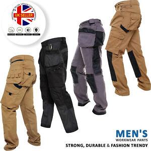 Mens Heavy Duty Work Trousers Cargo Combat Style Knee Pad Pocket Workwear Pants