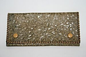 Real Vintage Woman's Man Wallet Dark Green 100% Natural Thick Patterned Leather