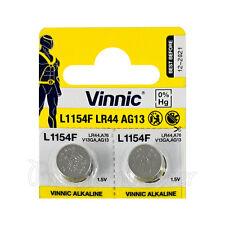 2 x Vinnic L1154F LR44 batteries Alkaline 1.5V AG13 G13 FREE Shipping EXP:2021
