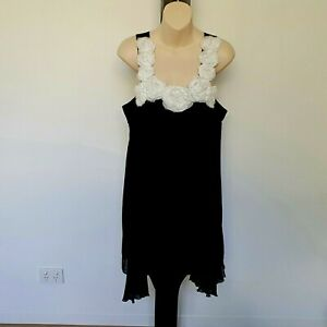 'F&I COLLECTION' EC SIZE'12' LINED BLACK PARTY DRESS WITH WHITE FLORAL DETAIL