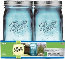 Ball 1440069024 Wide Mouth Elite Collection Mason Jars, Pack of 4, Blue