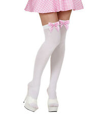 WHITE HOLD UPS WITH PINK CHECK BOW DETAIL ONE SIZE 70 DENIER HALLOWEEN