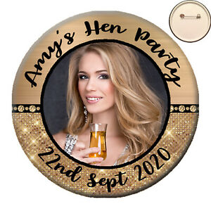 Personalised GLITZY Photo PIN BADGE Button Hen Party Night Do Birthday -58mm