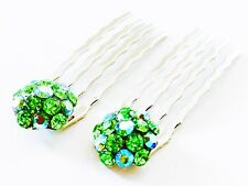 USA Mini Hair Comb Small Swarovski Crystal Bridal Wedding Green AB Silver Party