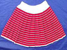 Girls pleated skirt Age 9 Vintage 1980s UNUSED Red white stripe Childs clothes
