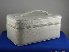 Bare Minerals Silver Faux Leather Top Handle Train Case Cosmetic Makeup Bag