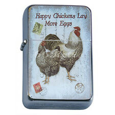 Silver Flip Top Oil Lighter Vintage Poster D 44 Happy Chickens Lay More Eggs