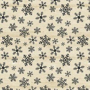 Rustic Village Fabric   Benartex Christmas Dark Gray Snowflake on Beige   Yard