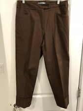 Hanna & Gracie Women's Brown Capris Cropped Trouser Pant With Cuffs Size 12