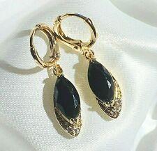Gold Dangle Earrings Black Marquise Sapphires Sim Diamonds 18k GF Plum UK BOXED