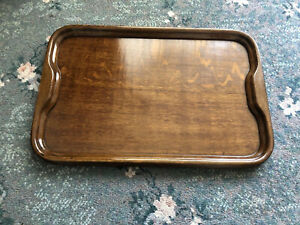 Beautiful Art Deco Wooden Tray With Recessed Handles
