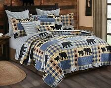 3 Piece Black Bear Blue Plaid Quilt Set (Queen/Full)