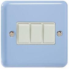 Varilight Duck Egg Blue Lily Range - 3 Gang 10A 1 or 2 Way Rocker Light Switch