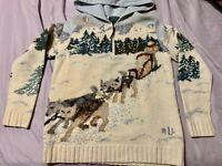 Vintage Lauren Ralph Lauren LRL Winter Sleigh Dogs Hand Knit Zip Hoodie Sweater