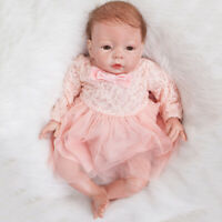 Lovely 20-22inch Newborn Baby Dolls Clothes Pink Lace Dress Hat Suit Reborn Girl