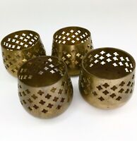 4 Vintage India Brass Votive Tea Light Candle Holders Home Decor Wedding