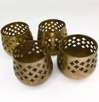 4 Vintage India Brass Votive Tea Light Candle Holders Home Decor Wedding U