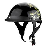 Skull and Bones Motorcycle Helmet - DOT - Shorty Low-Profile Cruiser Helmet