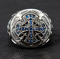 MEDIEVAL BLUE SAPPHIRE CROSS 925 STERLING SILVER MENS RING ROCKER BIKER GOTHIC