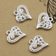 Wholesale 30pcs Tibet Silver Hollow heart Charm Pendant beaded Jewelry 14x15mm