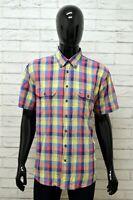 Camicia CAMEL ACTIVE Uomo Taglia XL Maglia Shirt Man Cotone Manica Corta Quadri