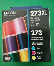 2018 5 Genuine EPSON Inks T273 XL Black & 4 Standard color T273520 XP-600/800