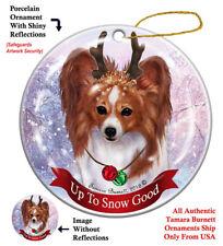 Papillon Dog Christmas Holiday Ornament Up To Snow Good