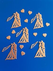 5 Bride And Groom rose gold Card Die Cuts Wedding invite Making/table confetti