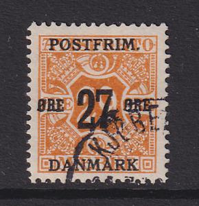 DENMARK 1918: fine used 27/29 ore or-yellow Wmk 114 Sc #151 c.v. $12 [2620]