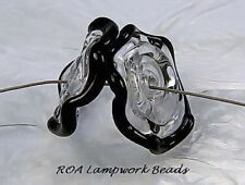 ROA Lampwork 2 Clear & Black Ruffle 20 mm Handmade Art Glass Disc Beads SRA