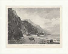 Strand bei Monterosso al mare, Riviera Wuttke Italien Felsen Holzstich E 16960