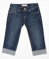 Vigoss Womens Jeans Crop Capri Junior Size 1 Stretch Blue Dark Wash Denim
