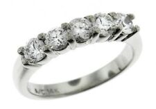 0.5 ct G VS2 round ideal cut diamond 5 stone wedding ring 14k white gold size 6