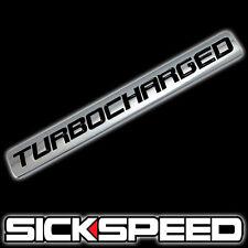 CHROME/BLACK METAL TURBOCHARGED ENGINE RACE MOTOR SWAP BADGE FOR TRUNK HOOD DOOR