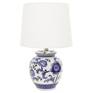 Ceramic Chic Blue and White Table Lamp 21 in. Cotton Shade Hardback Pattern