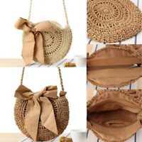 Women Straw Bag Retro Rattan Handbag Woven Summer Beach Shoulder Bags Round Tote