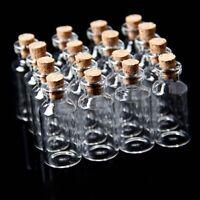 10x Leere Kleines TransparentMerk Nachricht Bottles Glasflasche mit Korken N2P7