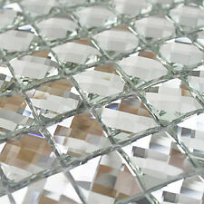 Mirror Tiles Sliver Crystal Diamond Mosaic Tile Backsplash Bevel Glass (1 sheet)