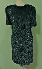 LAWRENCE KAZAR NEW YORK GREEN BEAD SILK SHEATH SEQUIN DRESS. SZ XL