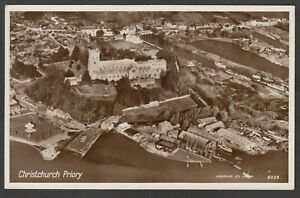 Postcard Christchurch nr Bournemouth Dorset the Priory and town aerial view RP