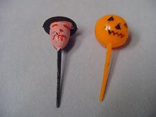 Halloween Plastic Picks Witch, Jack-O-Lantern Cup Cake Decorations Retro