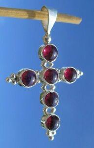 Granat - Anhänger Silber 925 - Kreuz !