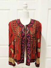 New listing Vtg Laurence Kazar Fully Beaded Red Holiday Christmas Tassels Jacket Size 1X