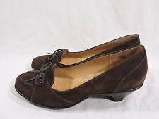 Women's Softspots Brown Suede Leather Slip-On Heels Shoes Oxford Bow size 6