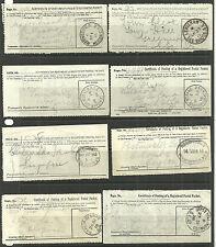 8 X CERTIFICATE OF POSTING OF A REGISTERED POSTAL PACKET 1909/28 LEWISHAM ETC