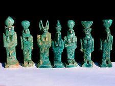 Vintage Egyptian Faience Turquoise Ushabtis Statues Horus Set Sekhmet Anubis