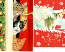 (12) Cute Cat Christmas Cards - (5) Leanin' Tree & (7) Image Arts