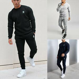 Gym King Mens Designer Crew Neck Full Tracksuit Set Bottoms Joggers Sweatshirt